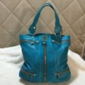 Jimmy Choo Mona Turquoise Leather/Suede Tote